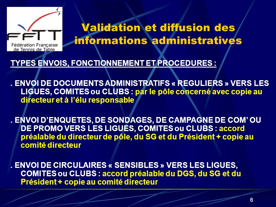 Validation et diffusion des informations administratives