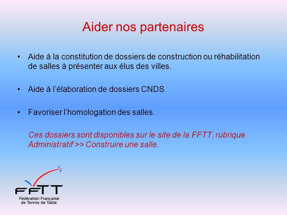 Aider nos partenaires Aide à la constitution de dossiers de construction ou réhabilitation de salles à présenter aux élus des villes.