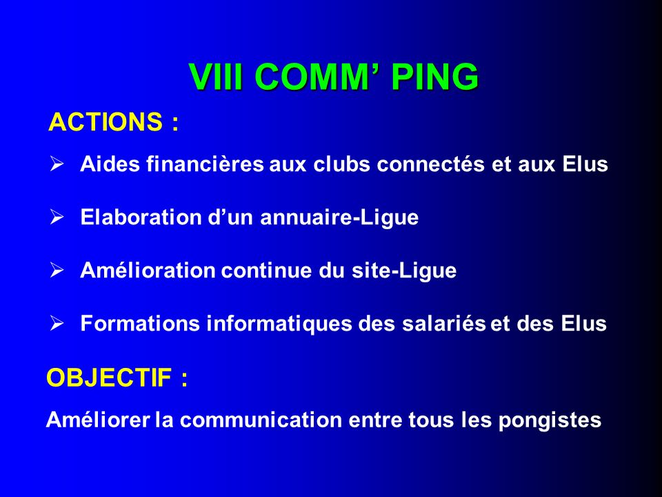 VIII COMM' PING ACTIONS : OBJECTIF :