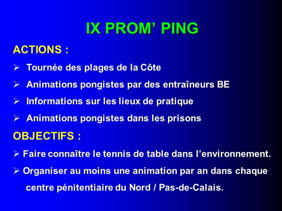 IX PROM' PING ACTIONS : OBJECTIFS : Tournée des plages de la Côte