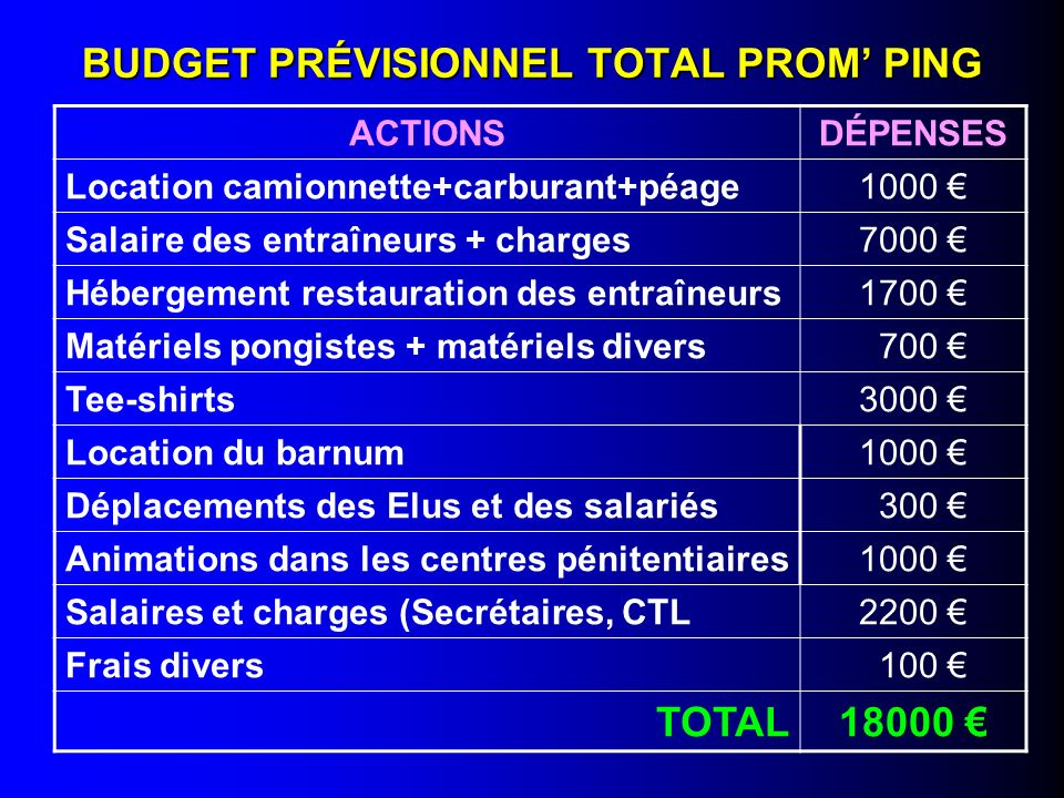 BUDGET PRÉVISIONNEL TOTAL PROM' PING