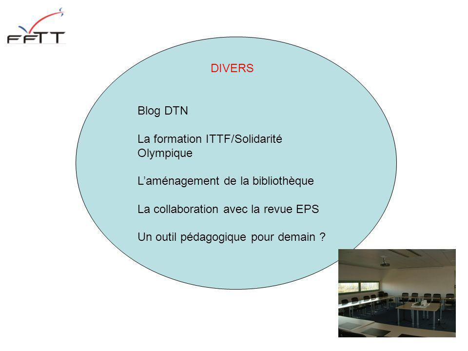 DIVERS Blog DTN. La formation ITTF/Solidarité Olympique. L'aménagement de la bibliothèque. La collaboration avec la revue EPS.
