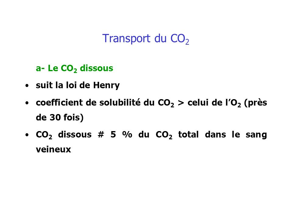 Transport du CO2 a- Le CO2 dissous suit la loi de Henry