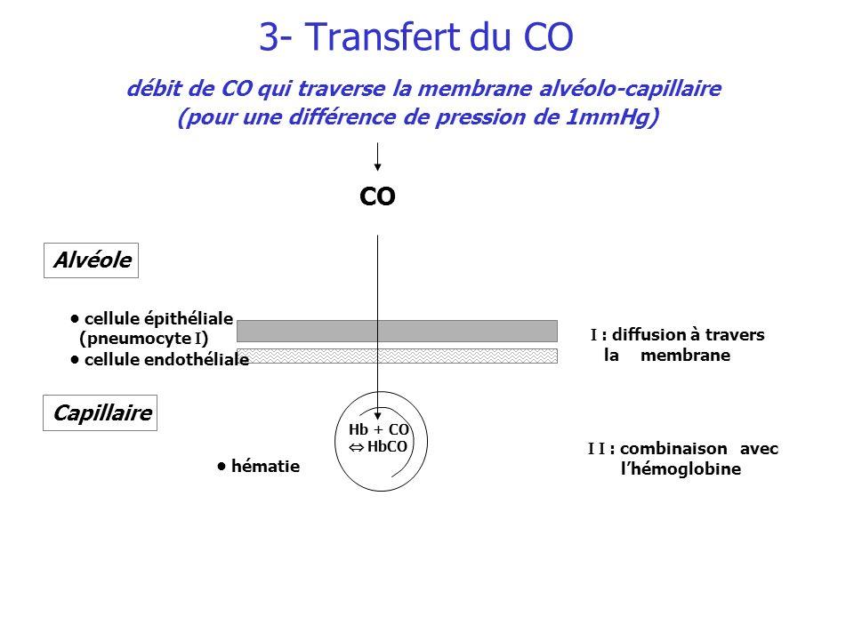 3- Transfert du CO débit de CO qui traverse la membrane alvéolo-capillaire (pour une différence de pression de 1mmHg)