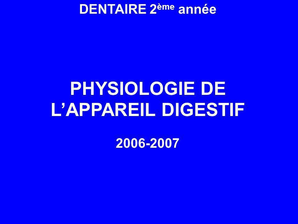 PHYSIOLOGIE DE L'APPAREIL DIGESTIF