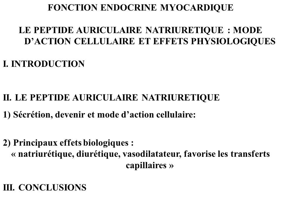 FONCTION ENDOCRINE MYOCARDIQUE