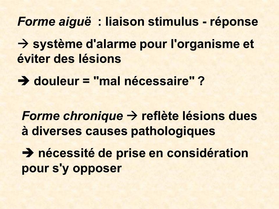 Forme aiguë : liaison stimulus - réponse