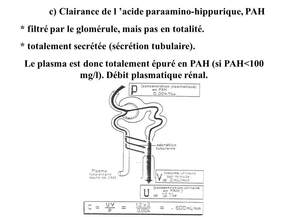 c) Clairance de l 'acide paraamino-hippurique, PAH