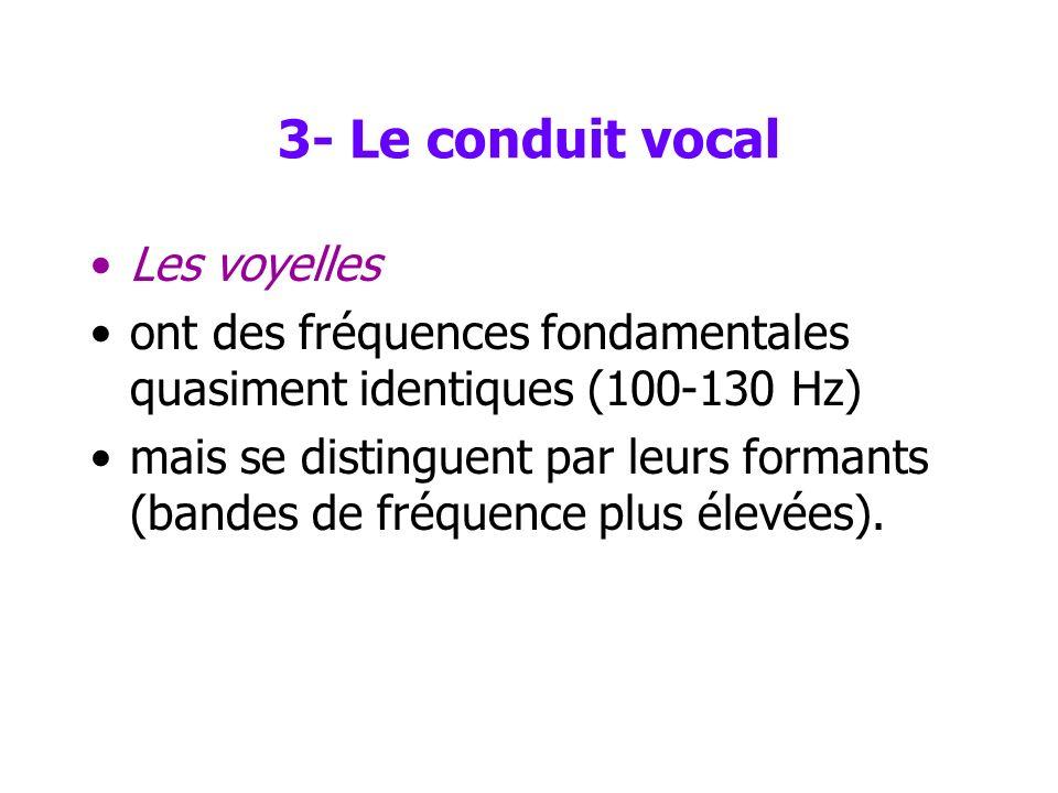 3- Le conduit vocal Les voyelles