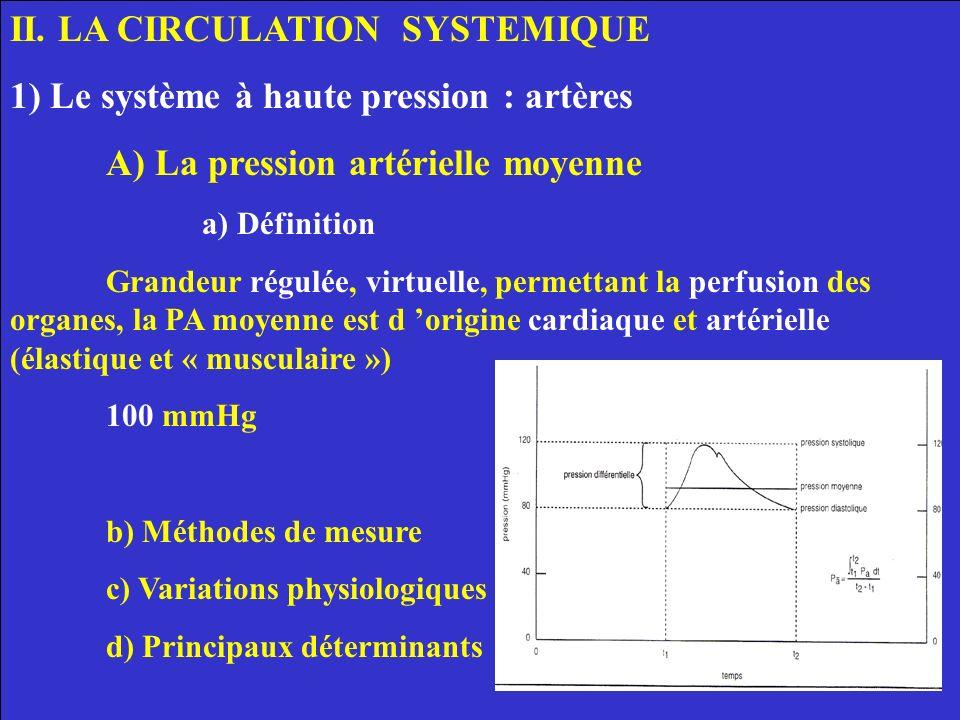 II. LA CIRCULATION SYSTEMIQUE 1) Le système à haute pression : artères