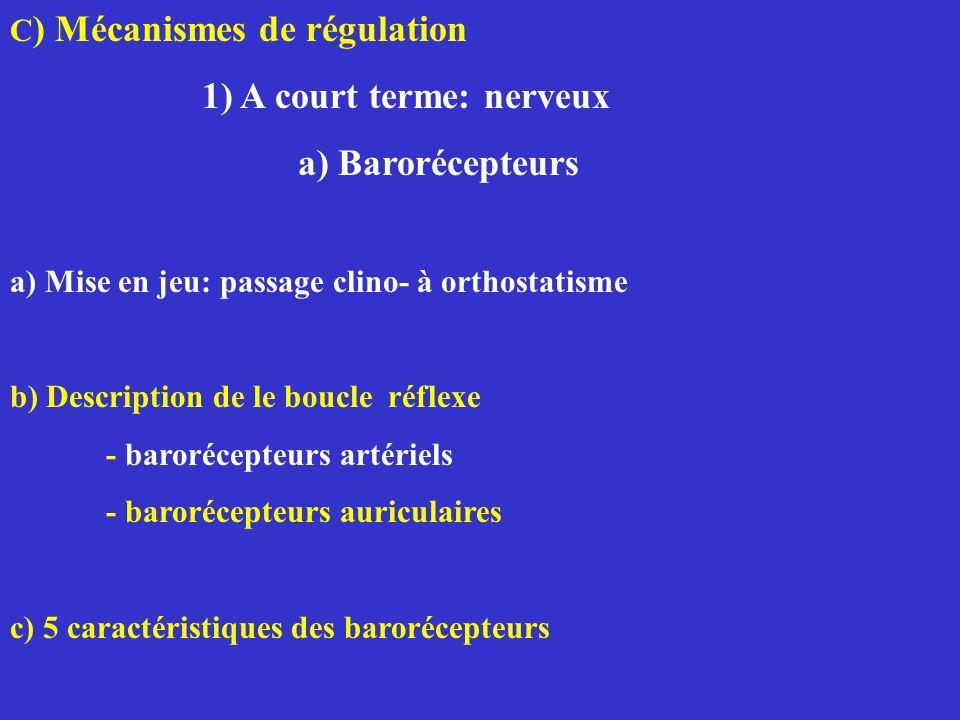 1) A court terme: nerveux a) Barorécepteurs