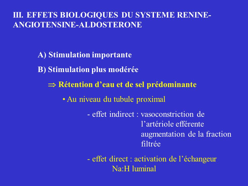 III. EFFETS BIOLOGIQUES DU SYSTEME RENINE-ANGIOTENSINE-ALDOSTERONE