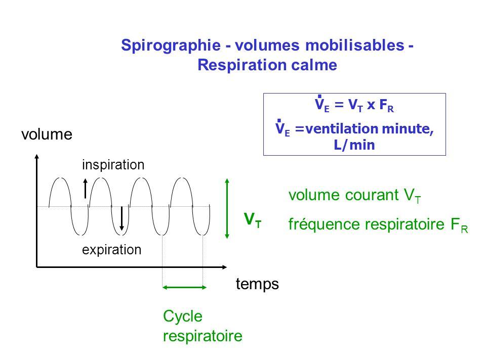 . . Spirographie - volumes mobilisables - Respiration calme volume
