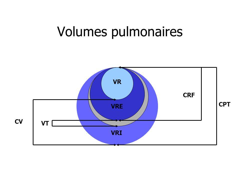 Volumes pulmonaires VR CRF CPT VRE CV VT VRI