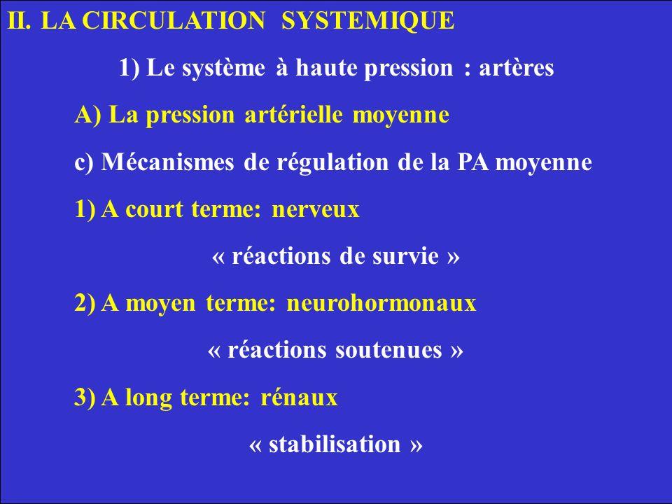 1) Le système à haute pression : artères « réactions soutenues »