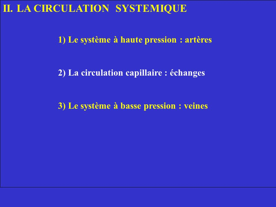 II. LA CIRCULATION SYSTEMIQUE