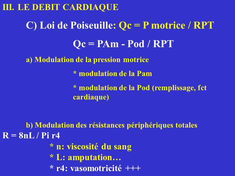 C) Loi de Poiseuille: Qc = P motrice / RPT