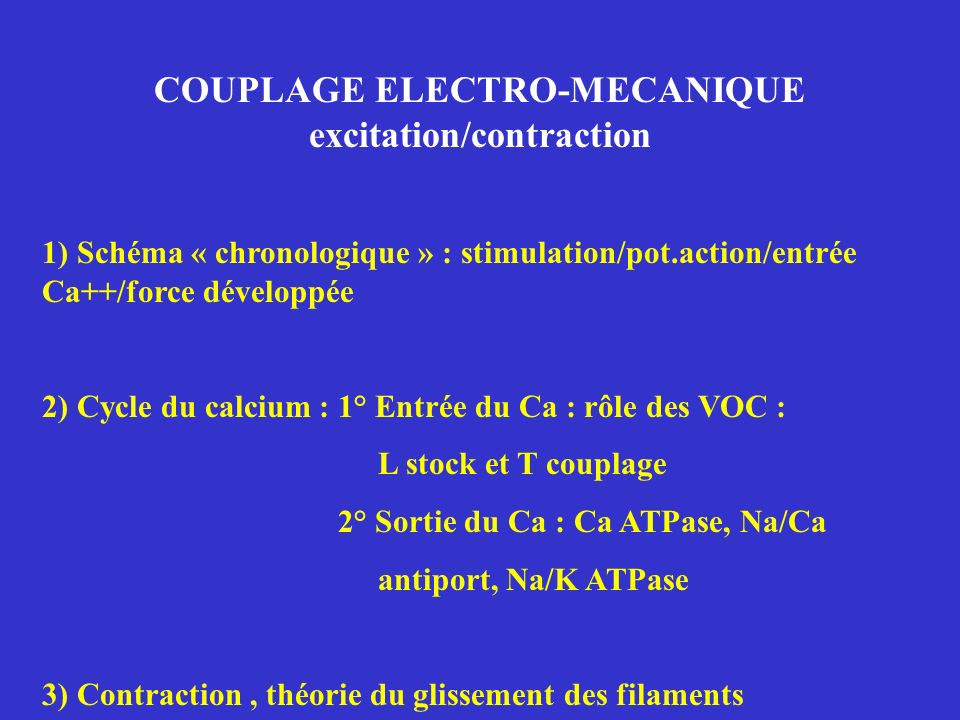 COUPLAGE ELECTRO-MECANIQUE excitation/contraction