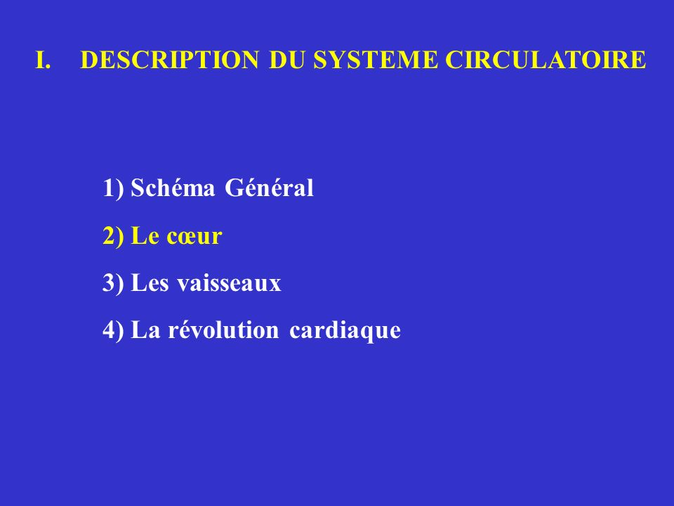 DESCRIPTION DU SYSTEME CIRCULATOIRE