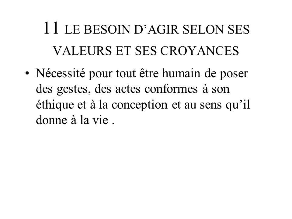 11 LE BESOIN D'AGIR SELON SES VALEURS ET SES CROYANCES