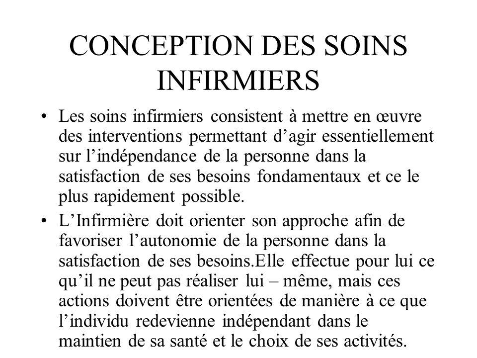 CONCEPTION DES SOINS INFIRMIERS
