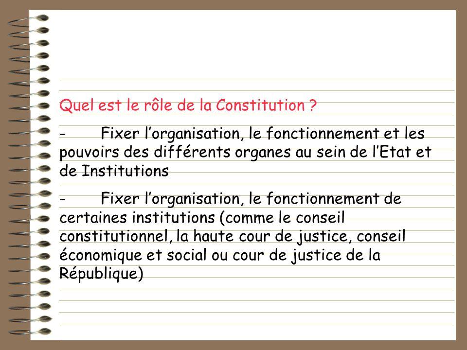 Quel est le rôle de la Constitution