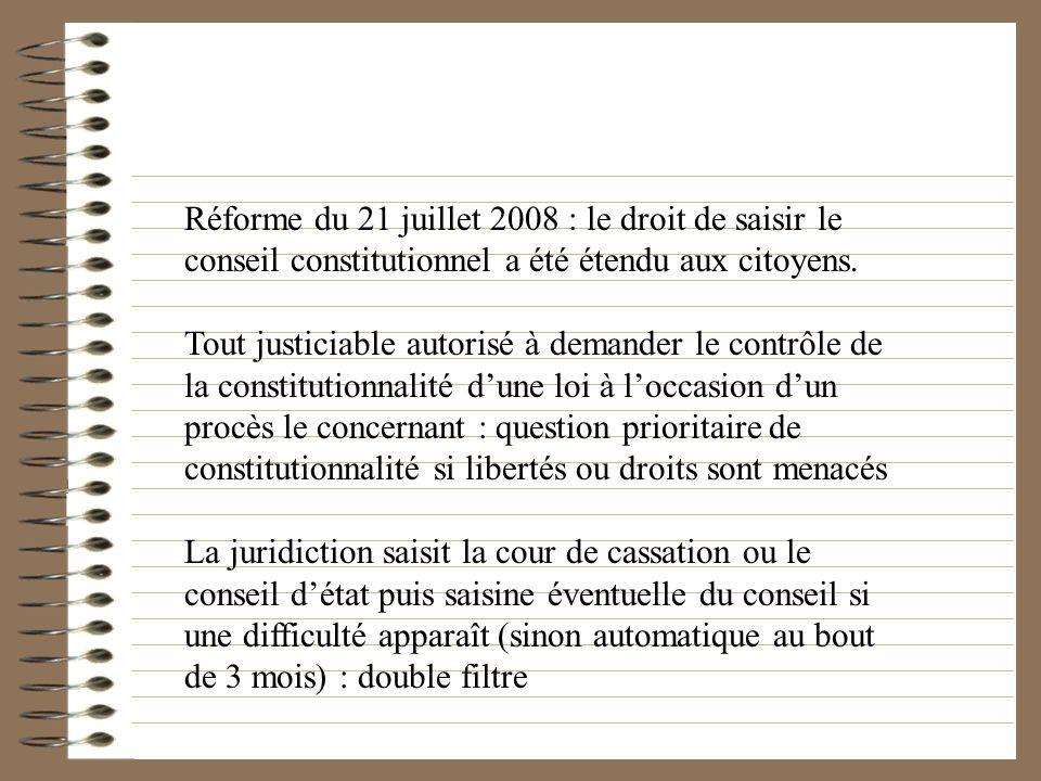 Réforme du 21 juillet 2008 : le droit de saisir le conseil constitutionnel a été étendu aux citoyens.