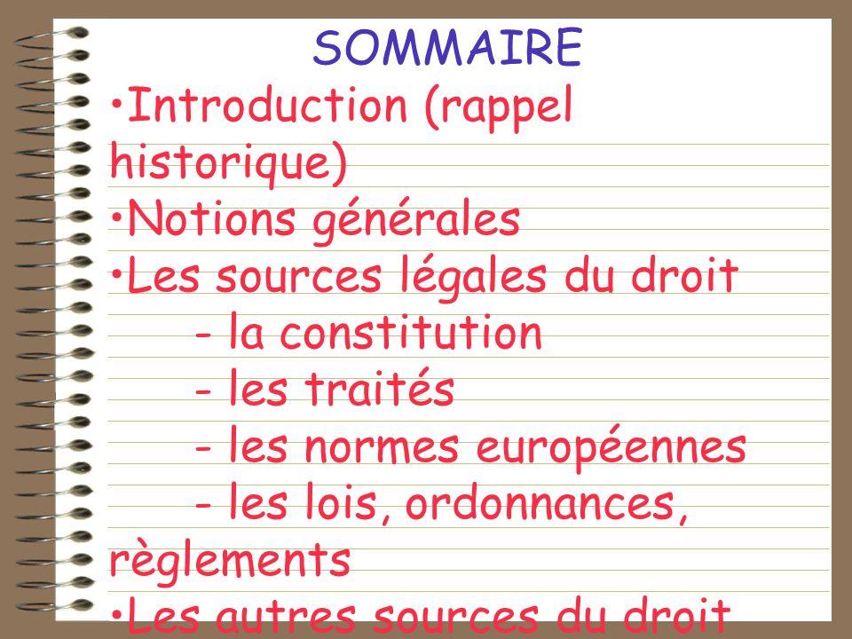 SOMMAIRE Introduction (rappel historique) Notions générales. Les sources légales du droit. - la constitution.