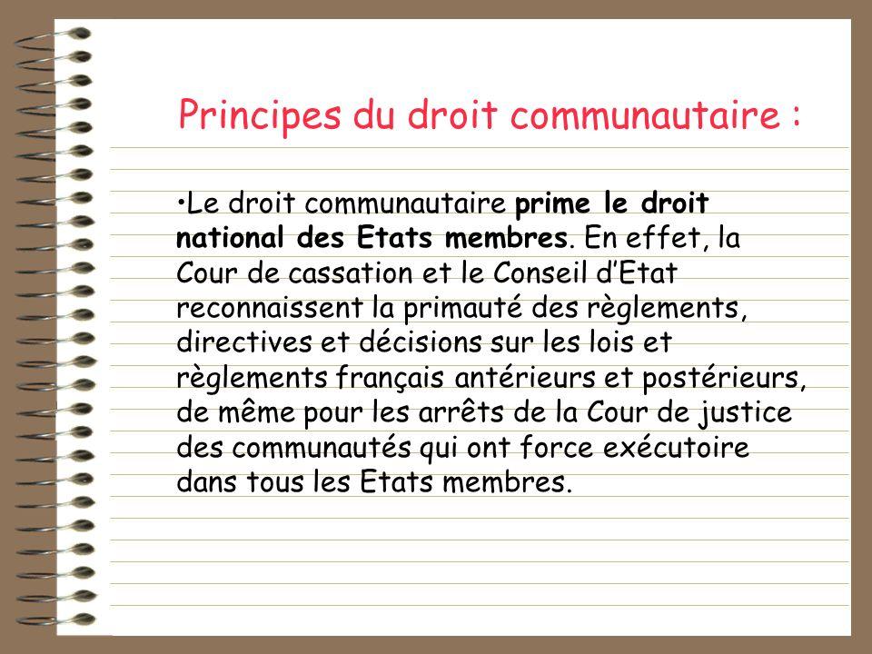 Principes du droit communautaire :