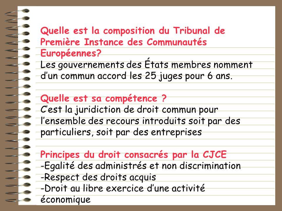 Quelle est la composition du Tribunal de Première Instance des Communautés Européennes