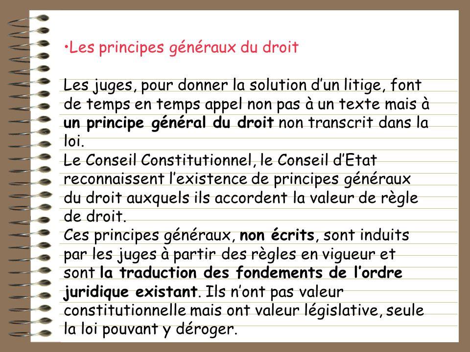 Les principes généraux du droit