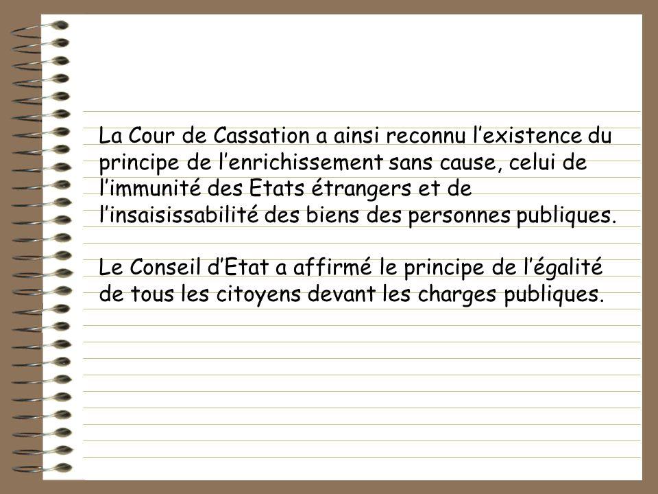La Cour de Cassation a ainsi reconnu l'existence du principe de l'enrichissement sans cause, celui de l'immunité des Etats étrangers et de l'insaisissabilité des biens des personnes publiques.