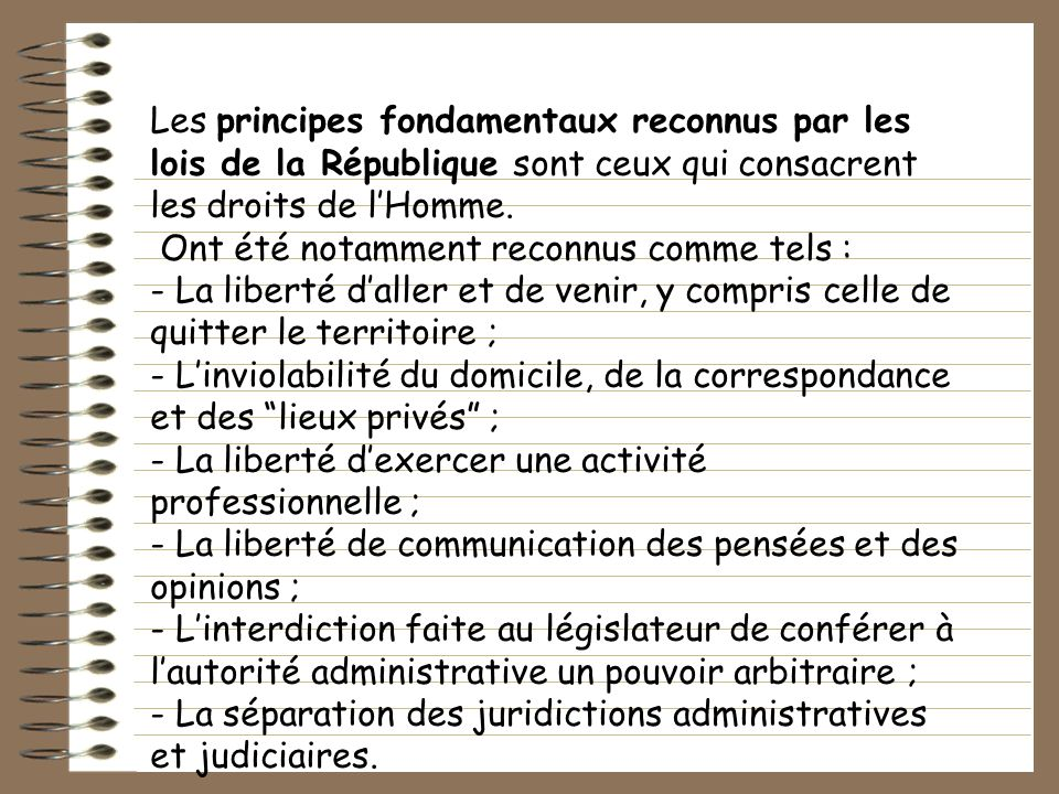 Les principes fondamentaux reconnus par les lois de la République sont ceux qui consacrent les droits de l'Homme.