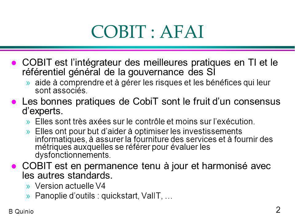 COBIT : AFAI COBIT est l'intégrateur des meilleures pratiques en TI et le référentiel général de la gouvernance des SI.