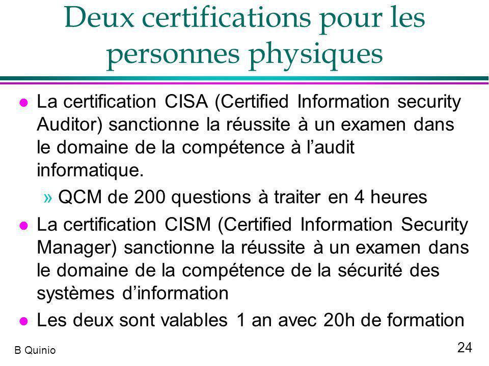 Deux certifications pour les personnes physiques