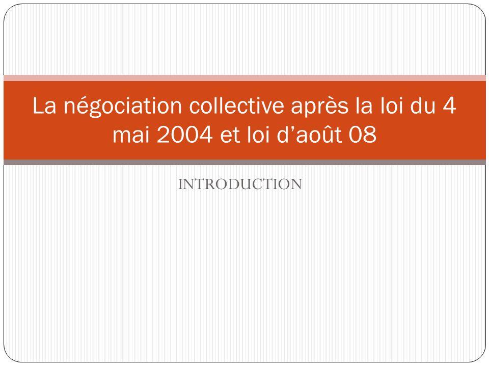 La négociation collective après la loi du 4 mai 2004 et loi d'août 08