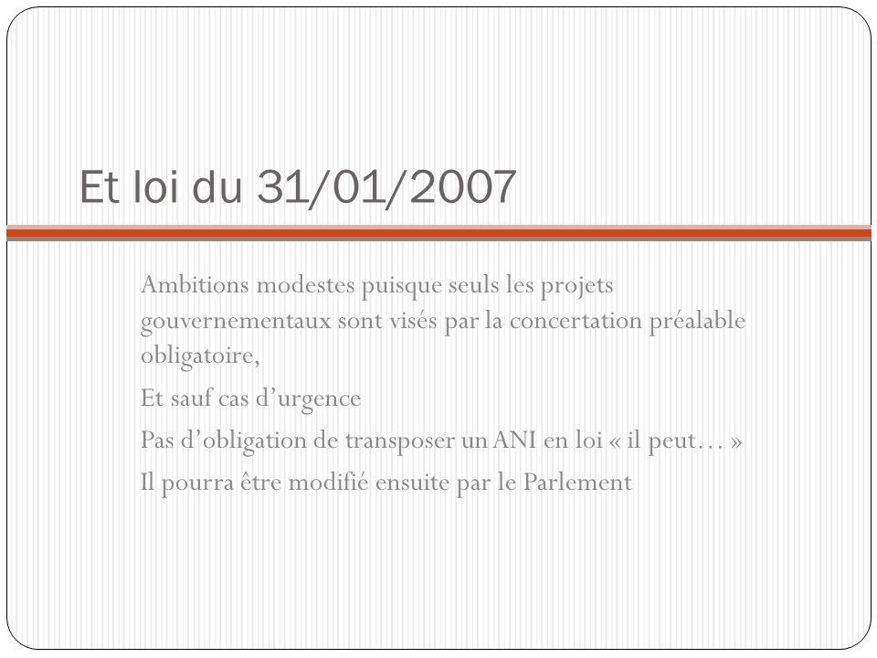 Et loi du 31/01/2007Ambitions modestes puisque seuls les projets gouvernementaux sont visés par la concertation préalable obligatoire,