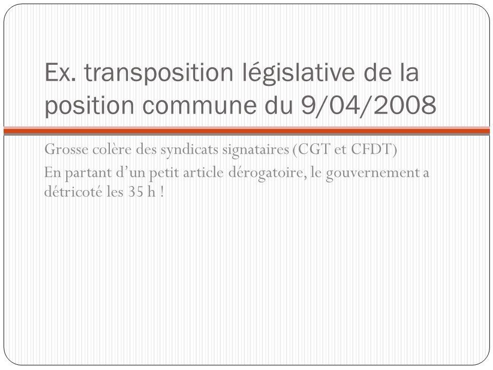 Ex. transposition législative de la position commune du 9/04/2008