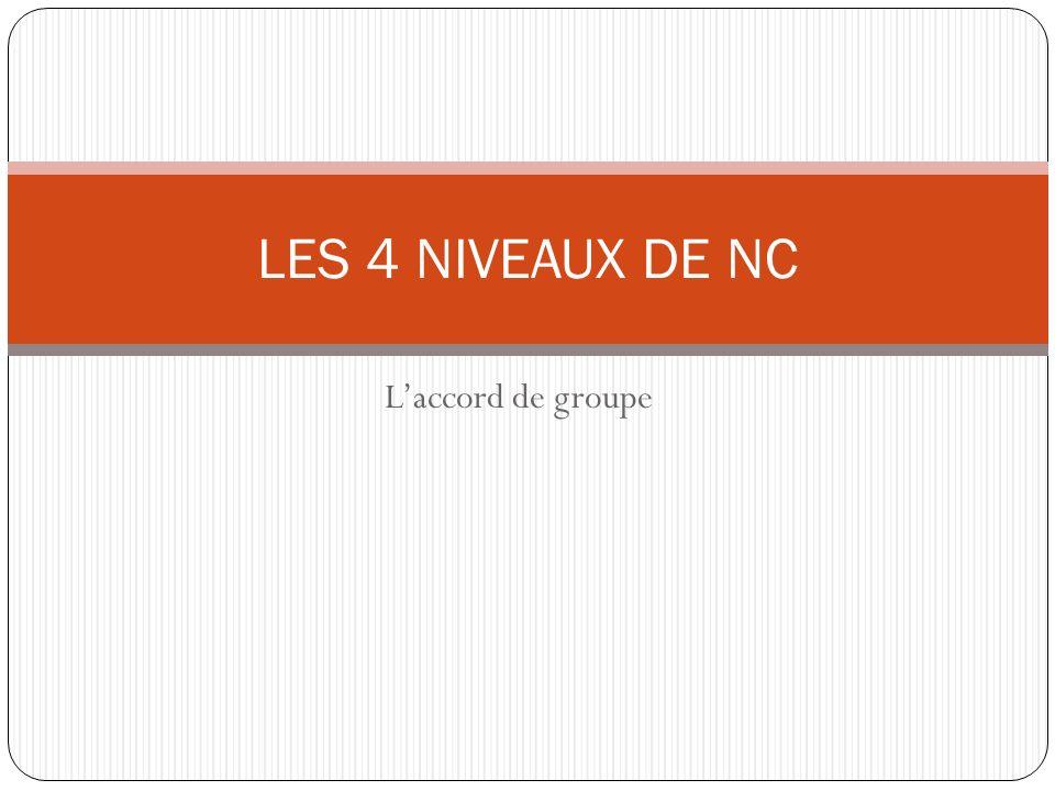 LES 4 NIVEAUX DE NC L'accord de groupe