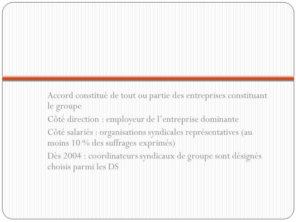 Accord constitué de tout ou partie des entreprises constituant le groupe