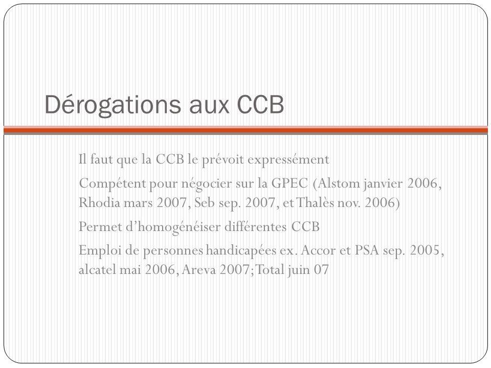Dérogations aux CCB Il faut que la CCB le prévoit expressément