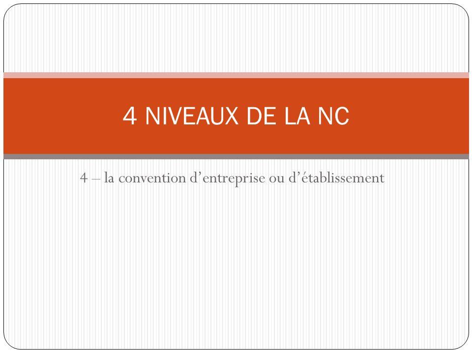 4 – la convention d'entreprise ou d'établissement