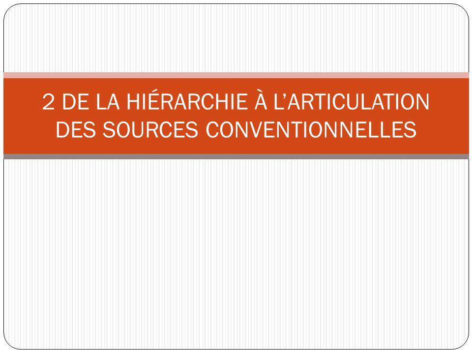 2 DE LA HIÉRARCHIE À L'ARTICULATION DES SOURCES CONVENTIONNELLES
