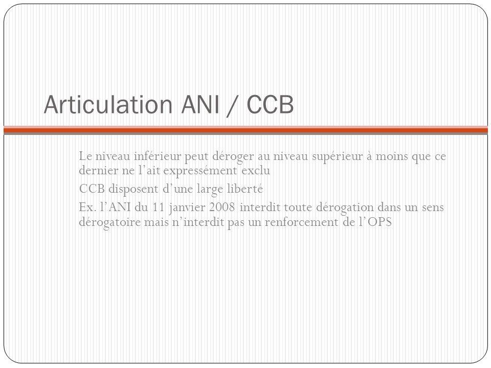 Articulation ANI / CCB Le niveau inférieur peut déroger au niveau supérieur à moins que ce dernier ne l'ait expressément exclu.