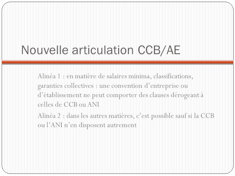 Nouvelle articulation CCB/AE