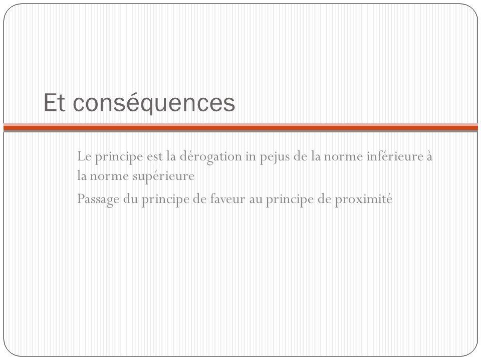 Et conséquences Le principe est la dérogation in pejus de la norme inférieure à la norme supérieure.