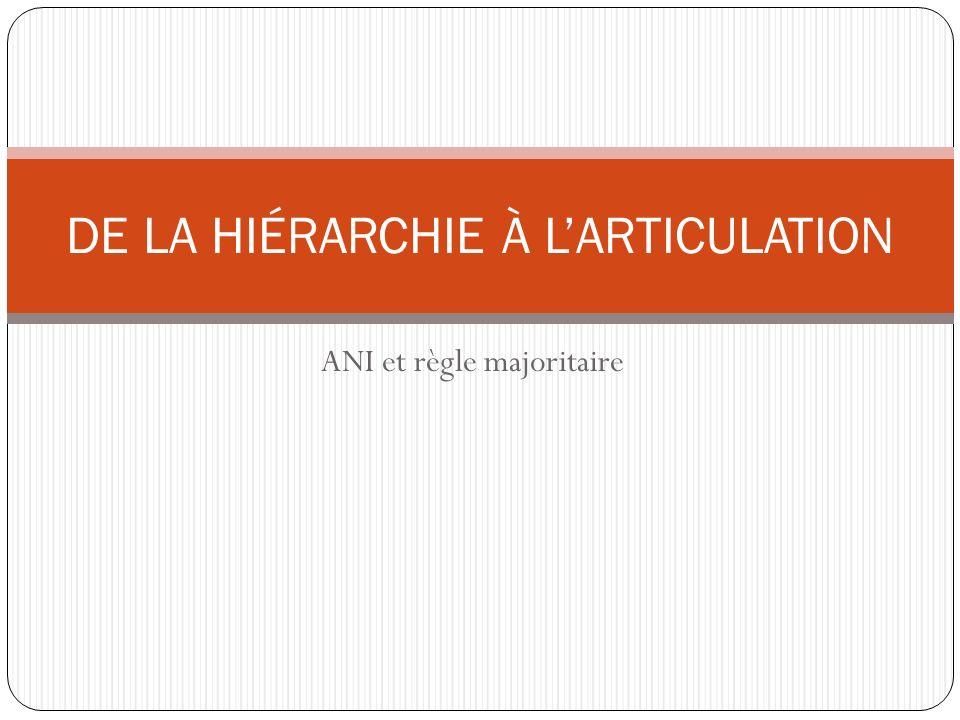 DE LA HIÉRARCHIE À L'ARTICULATION