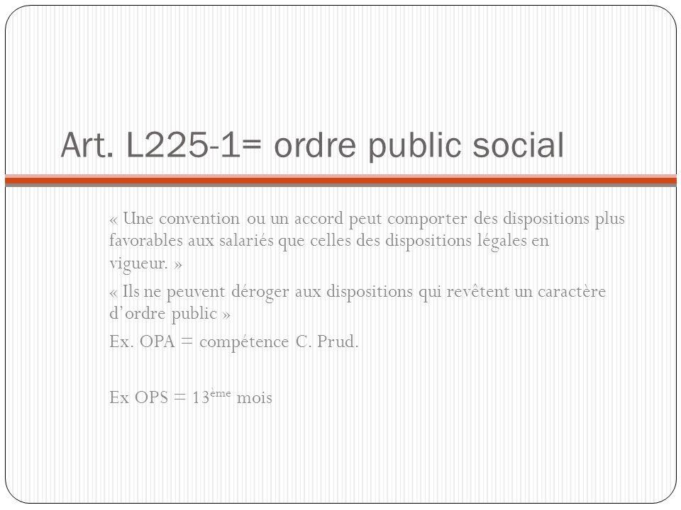 Art. L225-1= ordre public social