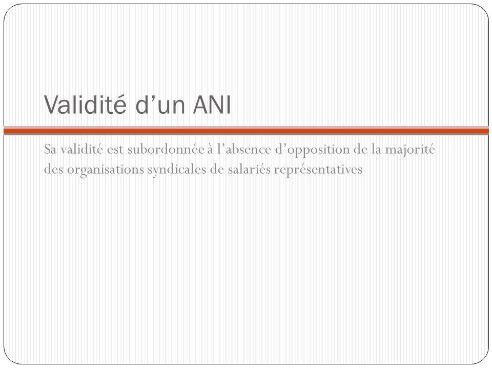 Validité d'un ANISa validité est subordonnée à l'absence d'opposition de la majorité des organisations syndicales de salariés représentatives.