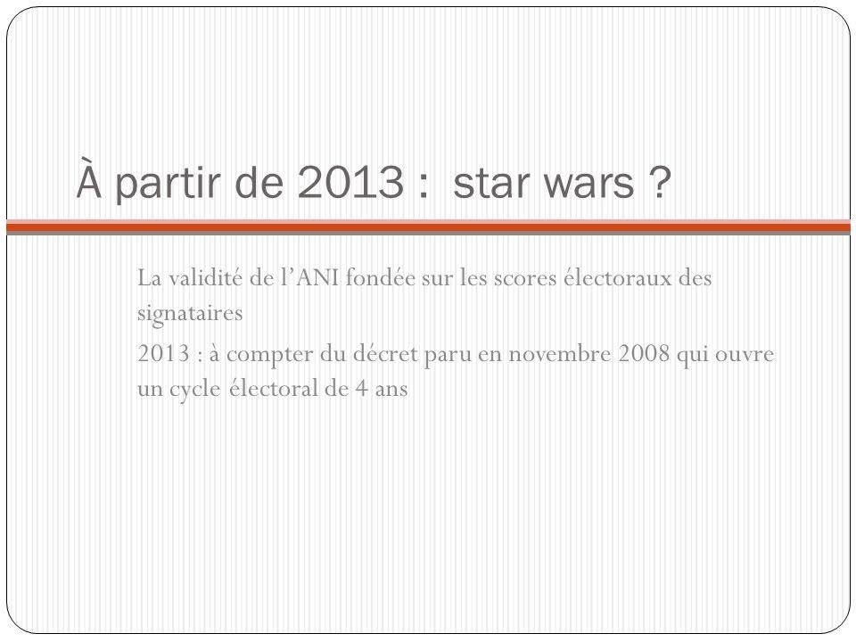 À partir de 2013 : star wars La validité de l'ANI fondée sur les scores électoraux des signataires.